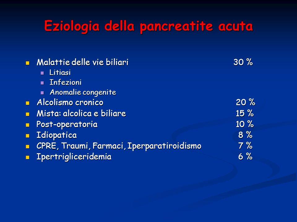 Eziologia della pancreatite acuta Malattie delle vie biliari 30 % Malattie delle vie biliari 30 % Litiasi Litiasi Infezioni Infezioni Anomalie congeni