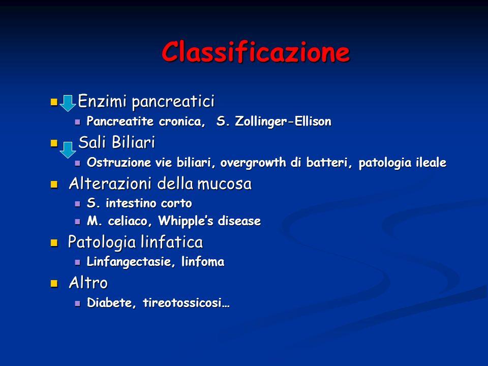 Classificazione Enzimi pancreatici Enzimi pancreatici Pancreatite cronica, S. Zollinger-Ellison Pancreatite cronica, S. Zollinger-Ellison Sali Biliari
