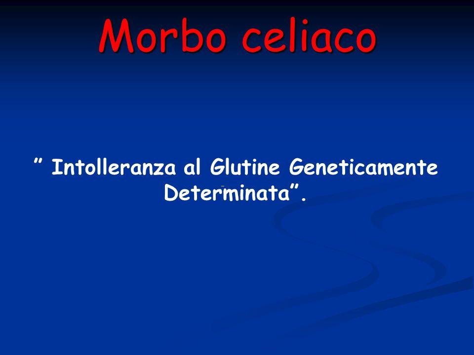 Morbo celiaco Intolleranza al Glutine Geneticamente Determinata.