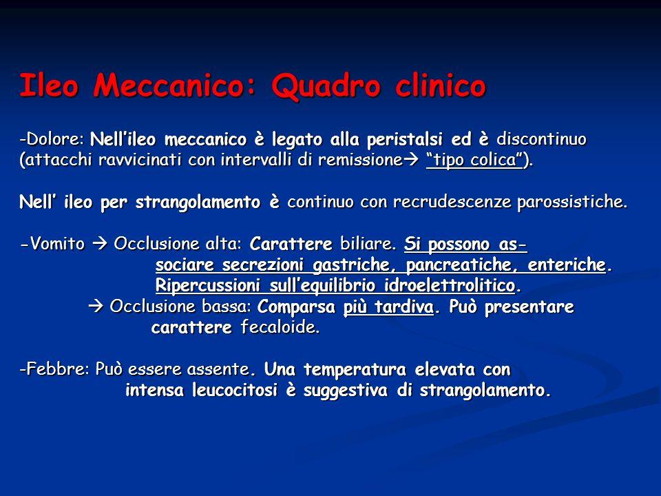 Ileo Meccanico: Quadro clinico -Dolore: Nellileo meccanico è legato alla peristalsi ed è discontinuo (attacchi ravvicinati con intervalli di remission