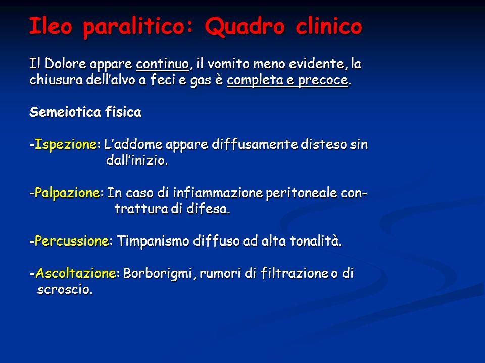 Ileo paralitico: Quadro clinico Il Dolore appare continuo, il vomito meno evidente, la chiusura dellalvo a feci e gas è completa e precoce. Semeiotica