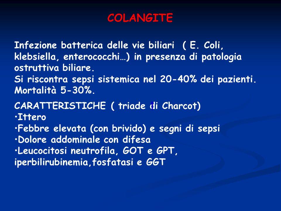 COLANGITE Infezione batterica delle vie biliari ( E. Coli, klebsiella, enterococchi…) in presenza di patologia ostruttiva biliare. Si riscontra sepsi