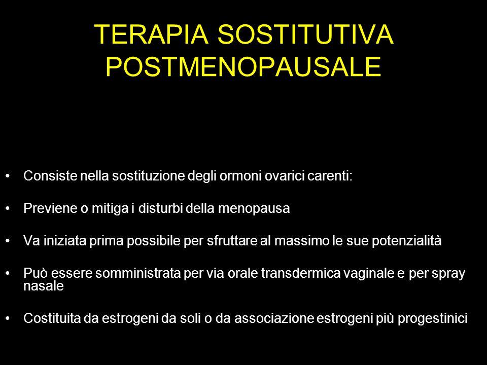 TERAPIA SOSTITUTIVA POSTMENOPAUSALE Consiste nella sostituzione degli ormoni ovarici carenti: Previene o mitiga i disturbi della menopausa Va iniziata