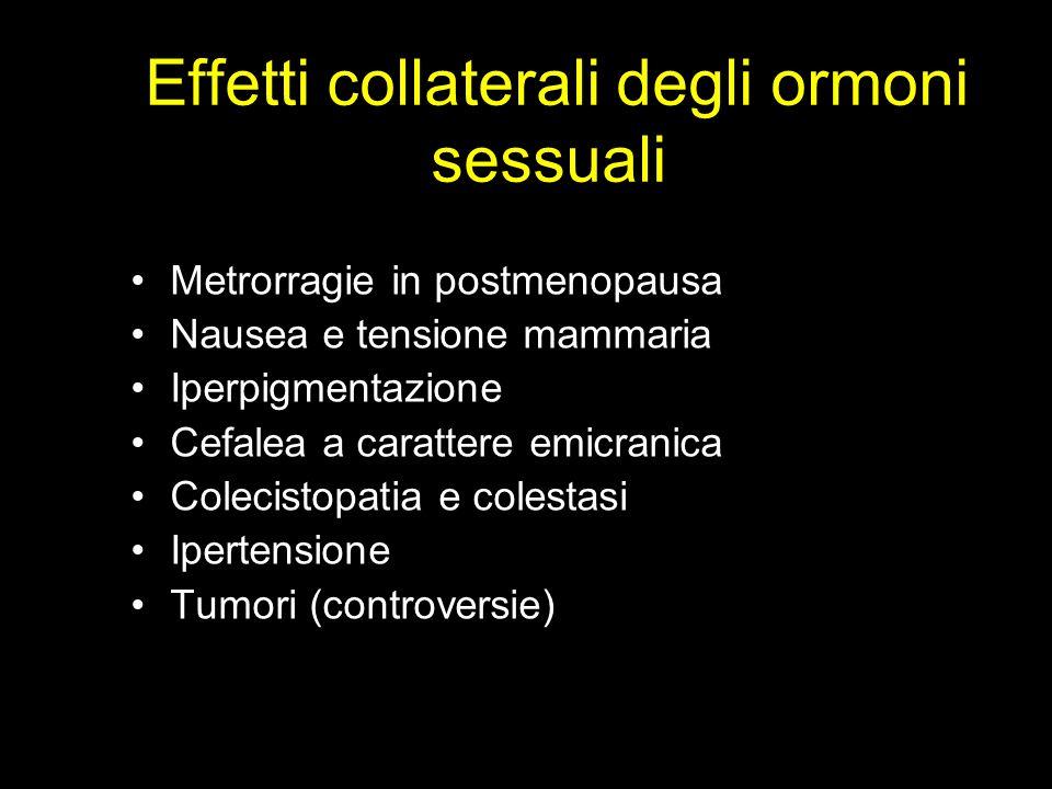 Effetti collaterali degli ormoni sessuali Metrorragie in postmenopausa Nausea e tensione mammaria Iperpigmentazione Cefalea a carattere emicranica Col