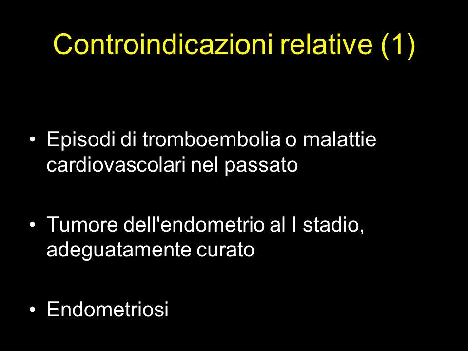 Controindicazioni relative (1) Episodi di tromboembolia o malattie cardiovascolari nel passato Tumore dell'endometrio al I stadio, adeguatamente curat