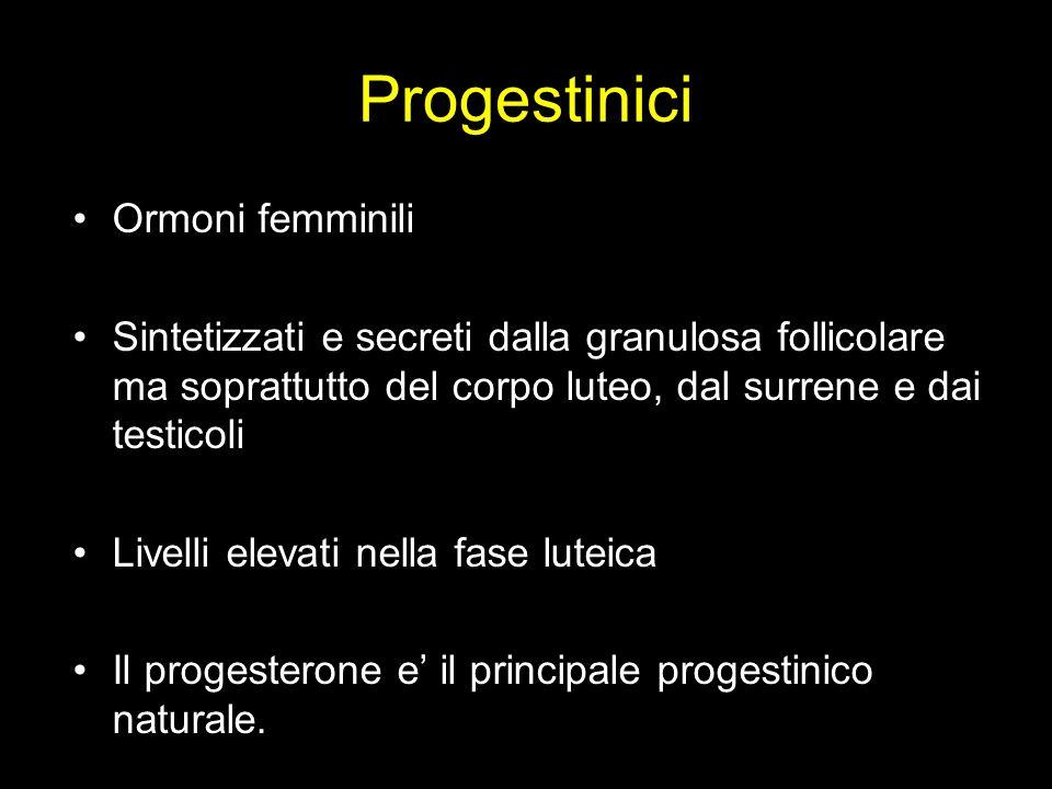 Progestinici Ormoni femminili Sintetizzati e secreti dalla granulosa follicolare ma soprattutto del corpo luteo, dal surrene e dai testicoli Livelli e