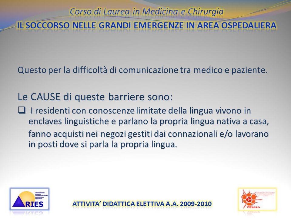 Questo per la difficoltà di comunicazione tra medico e paziente. Le CAUSE di queste barriere sono: I residenti con conoscenze limitate della lingua vi