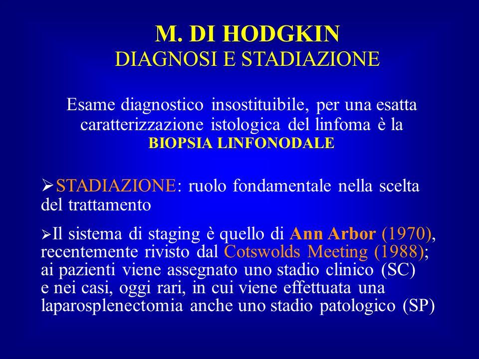 M. DI HODGKIN DIAGNOSI E STADIAZIONE Esame diagnostico insostituibile, per una esatta caratterizzazione istologica del linfoma è la BIOPSIA LINFONODAL