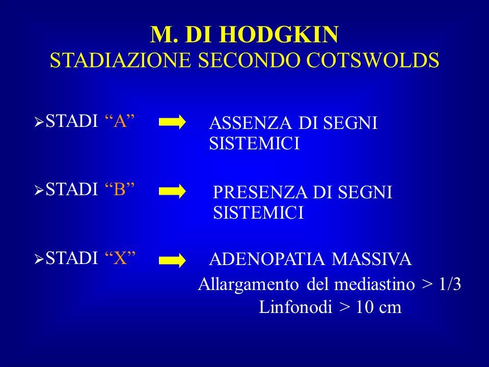M. DI HODGKIN STADIAZIONE SECONDO COTSWOLDS STADI A STADI B STADI X ASSENZA DI SEGNI SISTEMICI PRESENZA DI SEGNI SISTEMICI ADENOPATIA MASSIVA Allargam