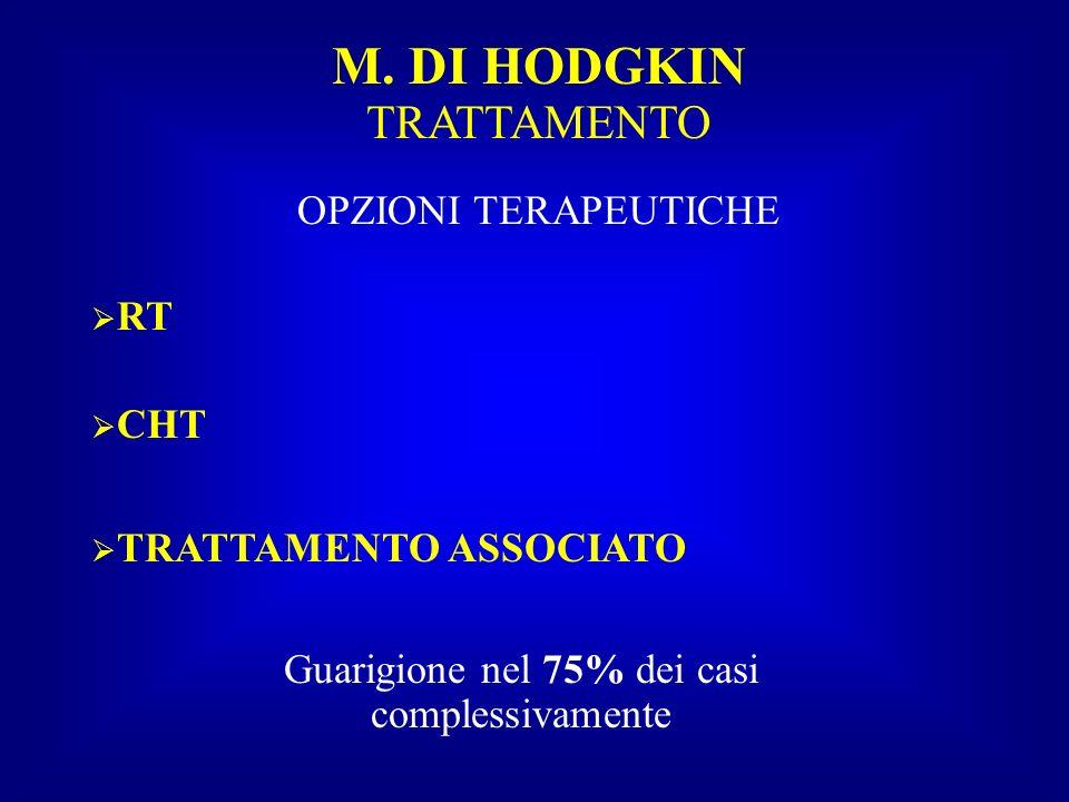 M. DI HODGKIN TRATTAMENTO OPZIONI TERAPEUTICHE RT CHT TRATTAMENTO ASSOCIATO Guarigione nel 75% dei casi complessivamente