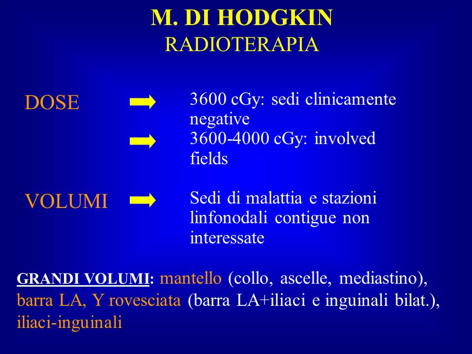 M. DI HODGKIN RADIOTERAPIA DOSE VOLUMI 3600 cGy: sedi clinicamente negative 3600-4000 cGy: involved fields Sedi di malattia e stazioni linfonodali con