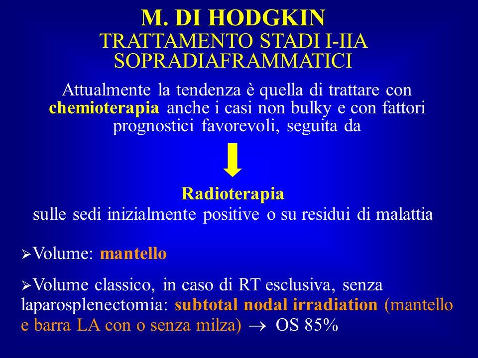 M. DI HODGKIN TRATTAMENTO STADI I-IIA SOPRADIAFRAMMATICI Attualmente la tendenza è quella di trattare con chemioterapia anche i casi non bulky e con f