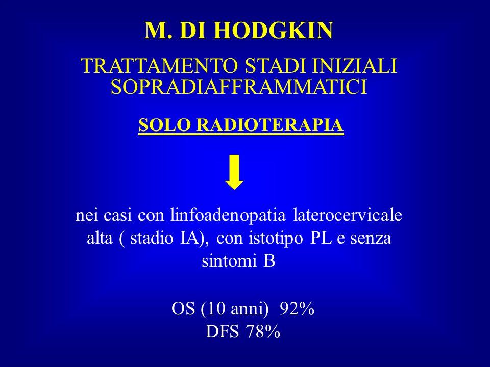 M. DI HODGKIN TRATTAMENTO STADI INIZIALI SOPRADIAFFRAMMATICI SOLO RADIOTERAPIA nei casi con linfoadenopatia laterocervicale alta ( stadio IA), con ist