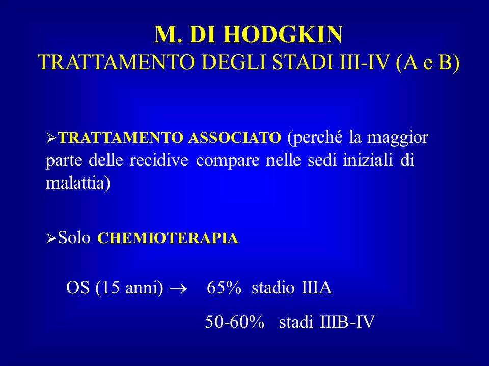 M. DI HODGKIN TRATTAMENTO DEGLI STADI III-IV (A e B) TRATTAMENTO ASSOCIATO (perché la maggior parte delle recidive compare nelle sedi iniziali di mala