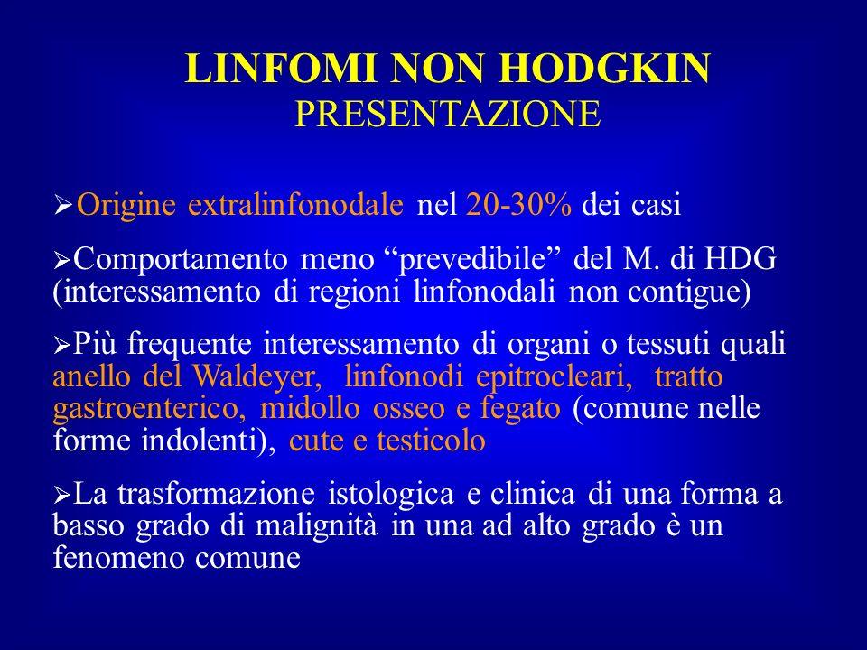 LINFOMI NON HODGKIN PRESENTAZIONE Origine extralinfonodale nel 20-30% dei casi Comportamento meno prevedibile del M. di HDG (interessamento di regioni