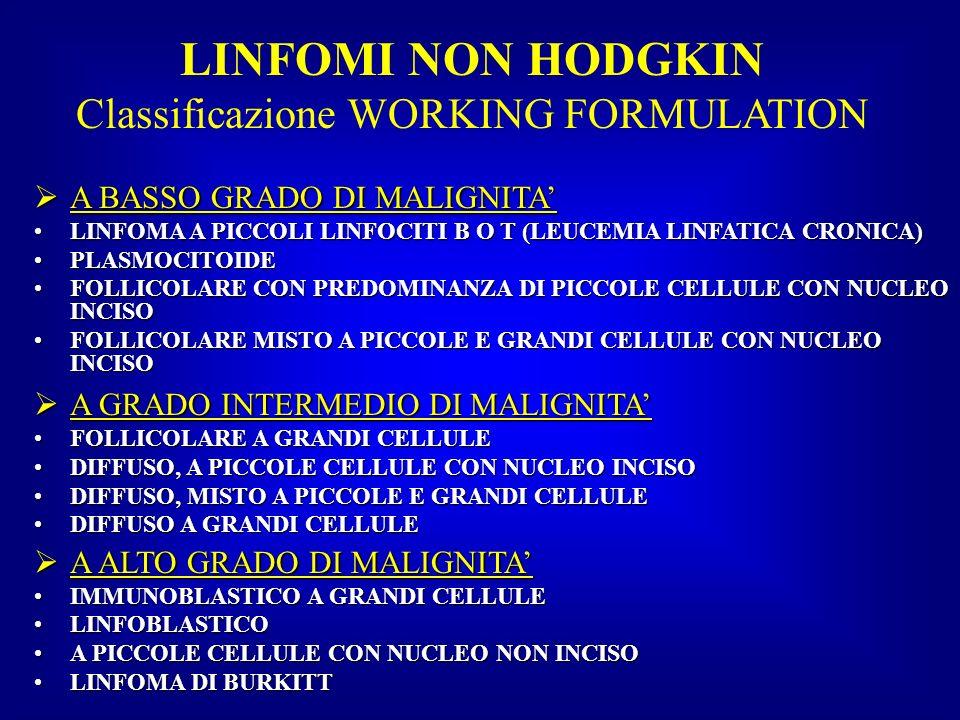 LINFOMI NON HODGKIN Classificazione WORKING FORMULATION A BASSO GRADO DI MALIGNITA A BASSO GRADO DI MALIGNITA LINFOMA A PICCOLI LINFOCITI B O T (LEUCE