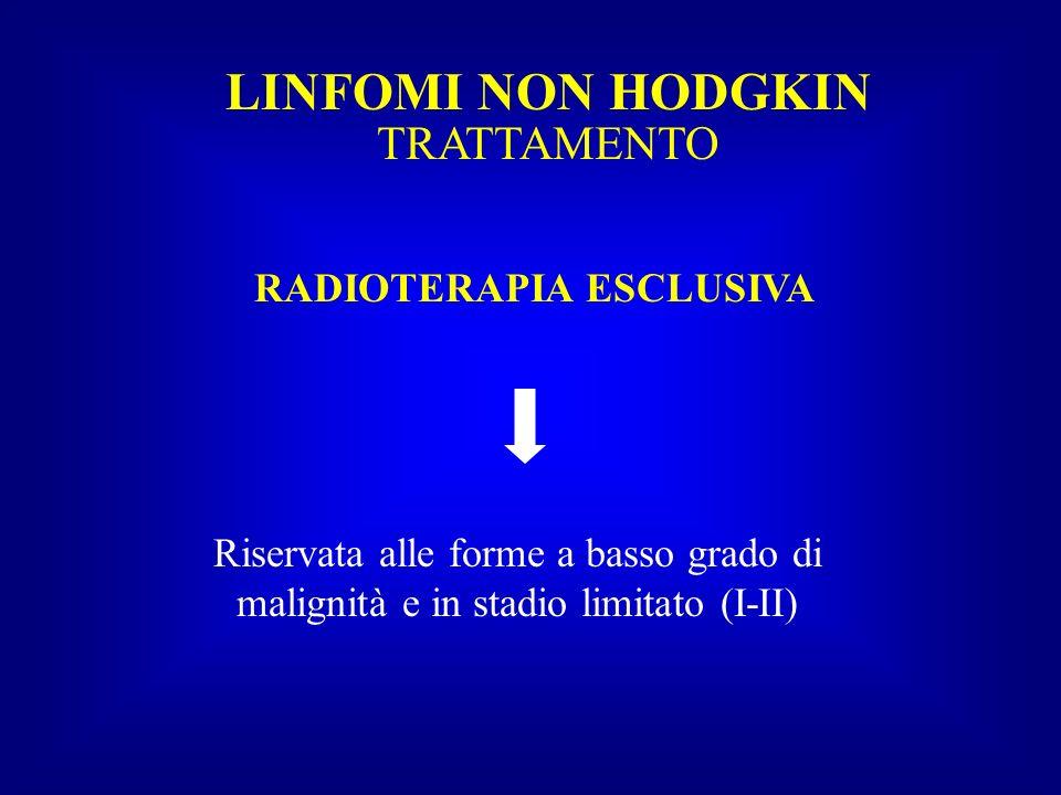 LINFOMI NON HODGKIN TRATTAMENTO RADIOTERAPIA ESCLUSIVA Riservata alle forme a basso grado di malignità e in stadio limitato (I-II)