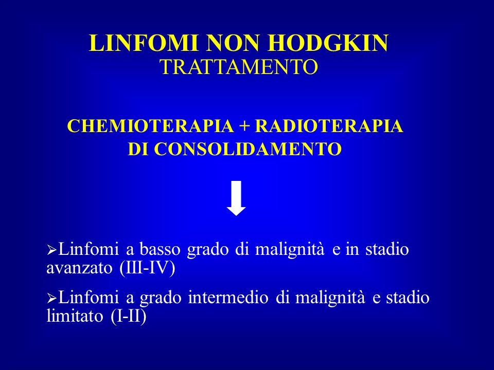 LINFOMI NON HODGKIN TRATTAMENTO CHEMIOTERAPIA + RADIOTERAPIA DI CONSOLIDAMENTO Linfomi a basso grado di malignità e in stadio avanzato (III-IV) Linfom