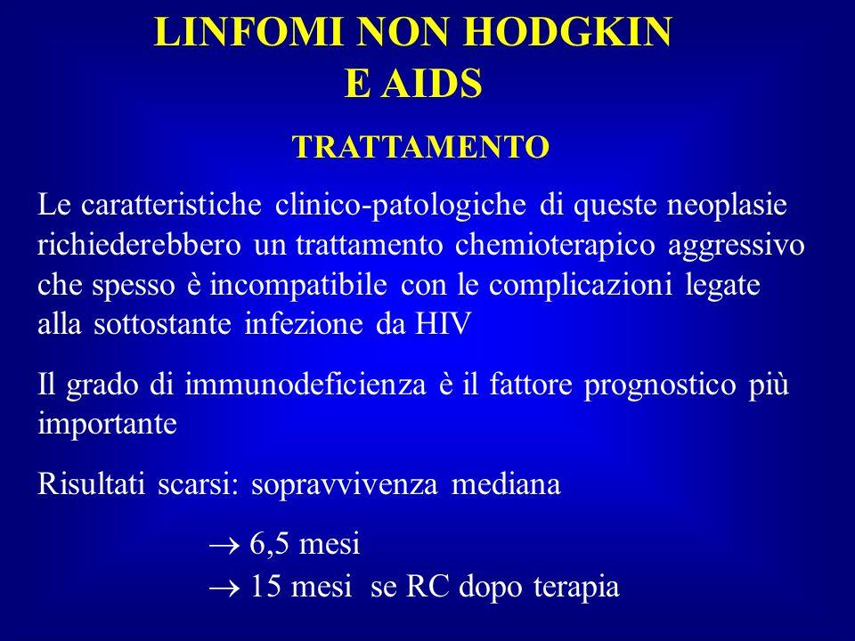 LINFOMI NON HODGKIN E AIDS TRATTAMENTO Le caratteristiche clinico-patologiche di queste neoplasie richiederebbero un trattamento chemioterapico aggres
