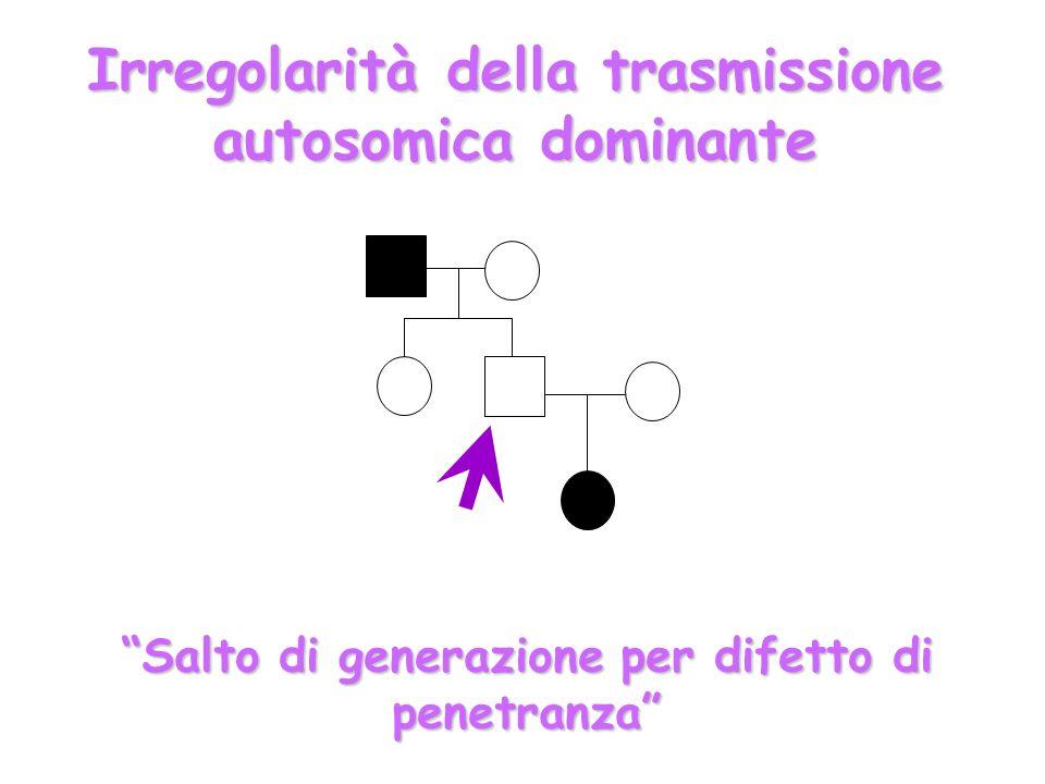 Irregolarità della trasmissione autosomica dominante Salto di generazione per difetto di penetranza