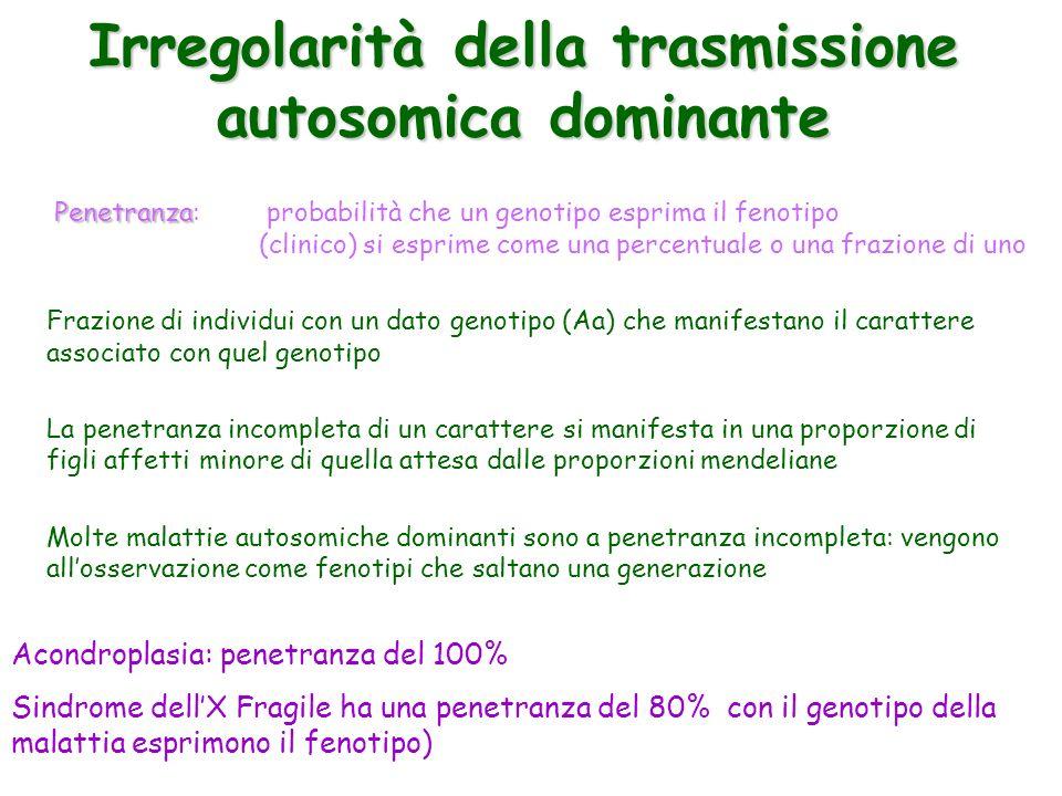 Irregolarità della trasmissione autosomica dominante Penetranza Penetranza: probabilità che un genotipo esprima il fenotipo (clinico) si esprime come