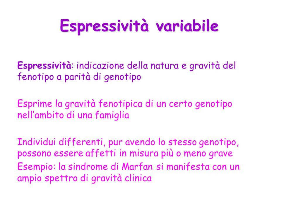 Espressività variabile Espressività: indicazione della natura e gravità del fenotipo a parità di genotipo Esprime la gravità fenotipica di un certo ge