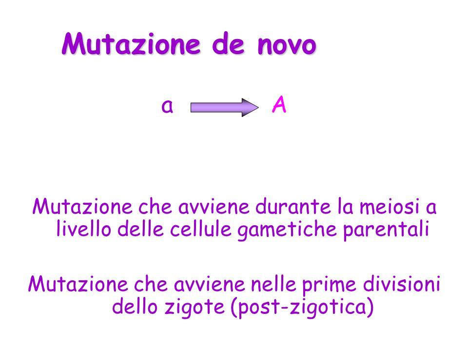 Mutazione de novo Mutazione che avviene durante la meiosi a livello delle cellule gametiche parentali Mutazione che avviene nelle prime divisioni dell