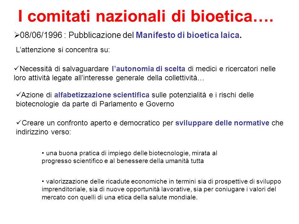 I comitati nazionali di bioetica…. 08/06/1996 : Pubblicazione del Manifesto di bioetica laica. Necessità di salvaguardare lautonomia di scelta di medi