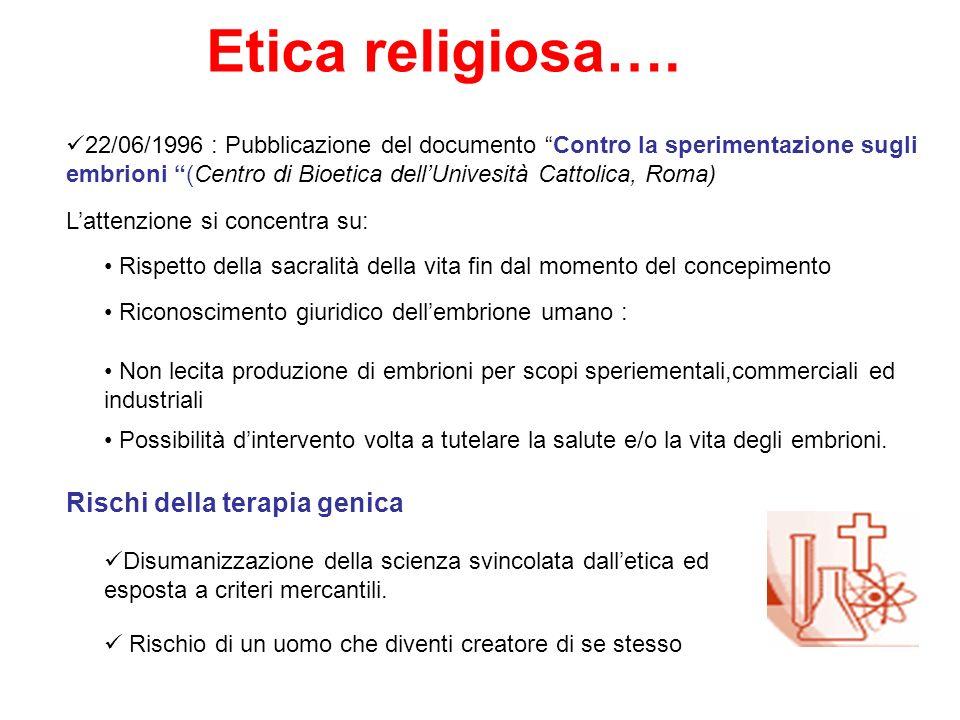 Etica religiosa…. 22/06/1996 : Pubblicazione del documento Contro la sperimentazione sugli embrioni (Centro di Bioetica dellUnivesità Cattolica, Roma)