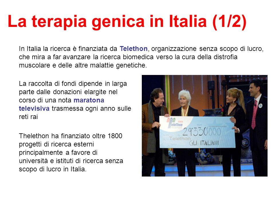 La terapia genica in Italia (1/2) In Italia la ricerca è finanziata da Telethon, organizzazione senza scopo di lucro, che mira a far avanzare la ricer