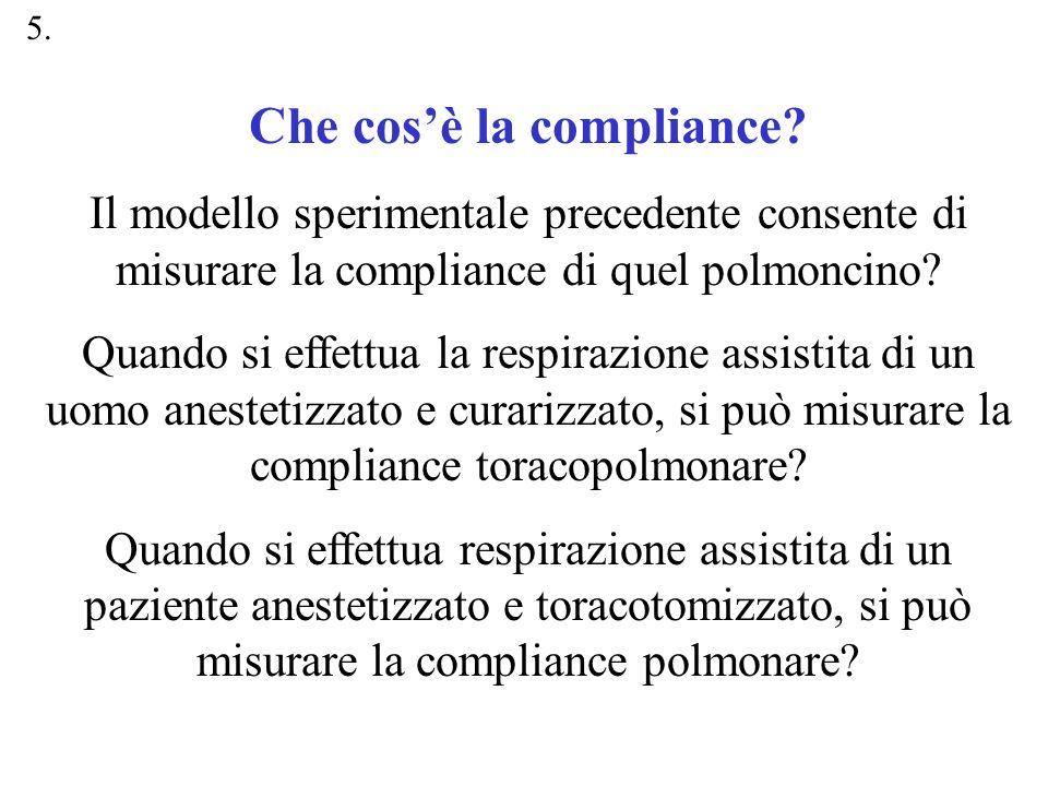 Che cosè la compliance? Il modello sperimentale precedente consente di misurare la compliance di quel polmoncino? Quando si effettua la respirazione a