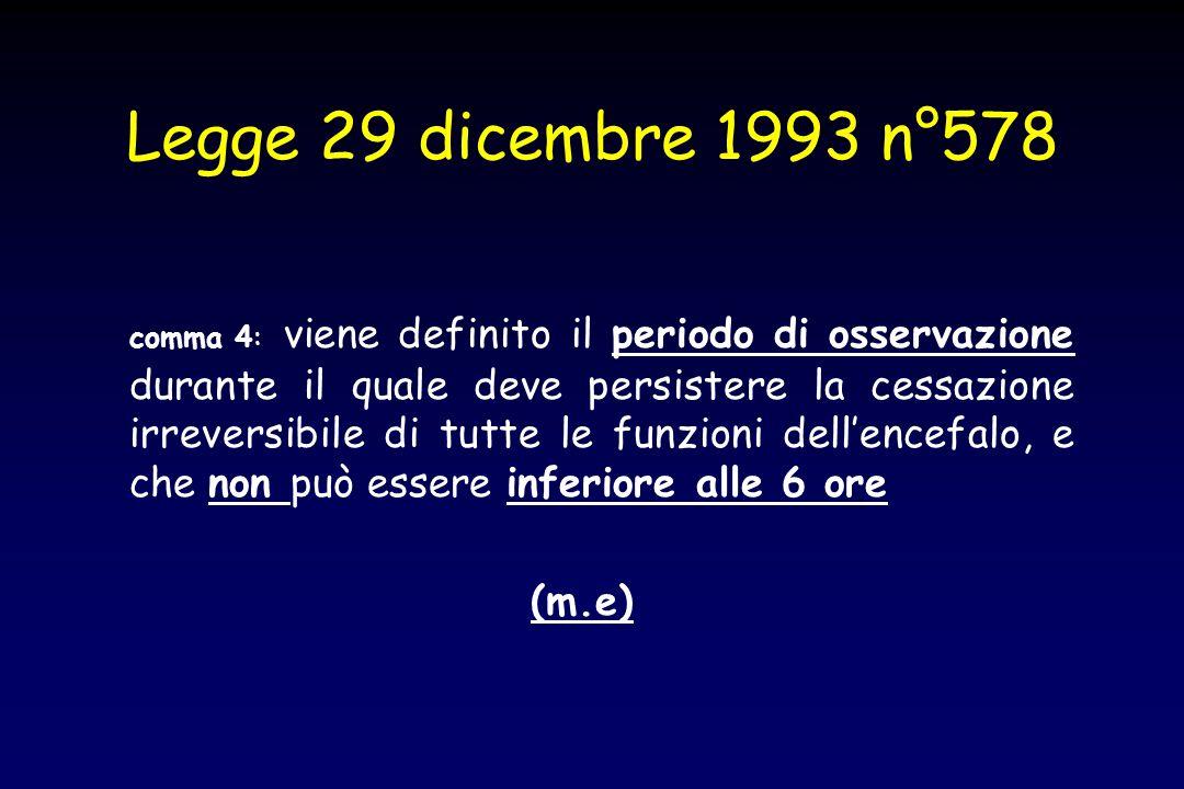 Legge 29 dicembre 1993 n°578 comma 4: viene definito il periodo di osservazione durante il quale deve persistere la cessazione irreversibile di tutte