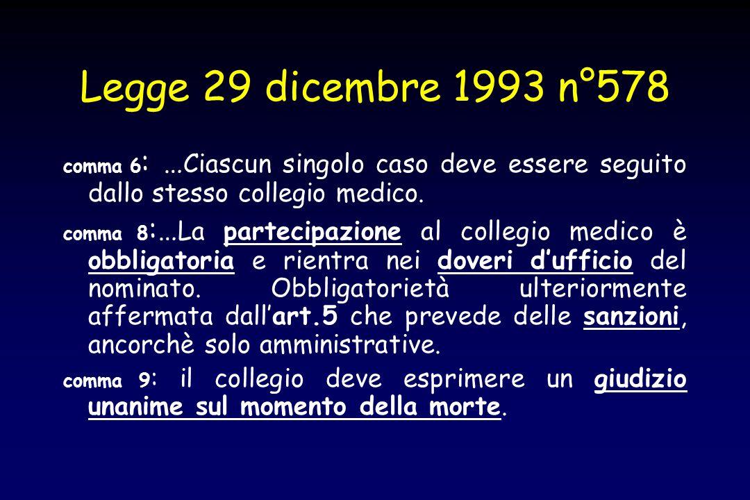 Legge 29 dicembre 1993 n°578 comma 6 : … Ciascun singolo caso deve essere seguito dallo stesso collegio medico. comma 8 :… La partecipazione al colleg