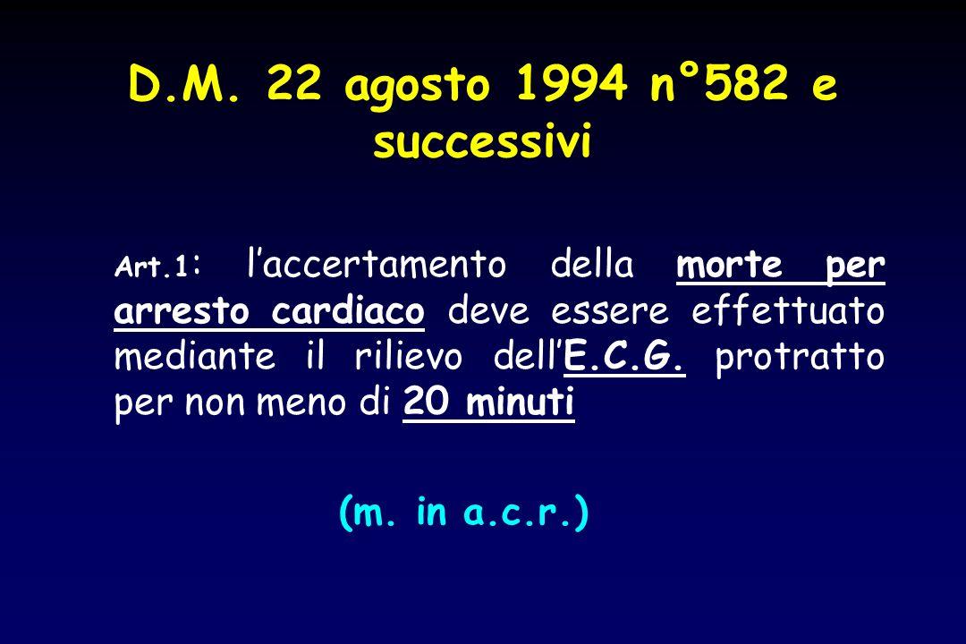 D.M. 22 agosto 1994 n°582 e successivi Art.1 : laccertamento della morte per arresto cardiaco deve essere effettuato mediante il rilievo dellE.C.G. pr