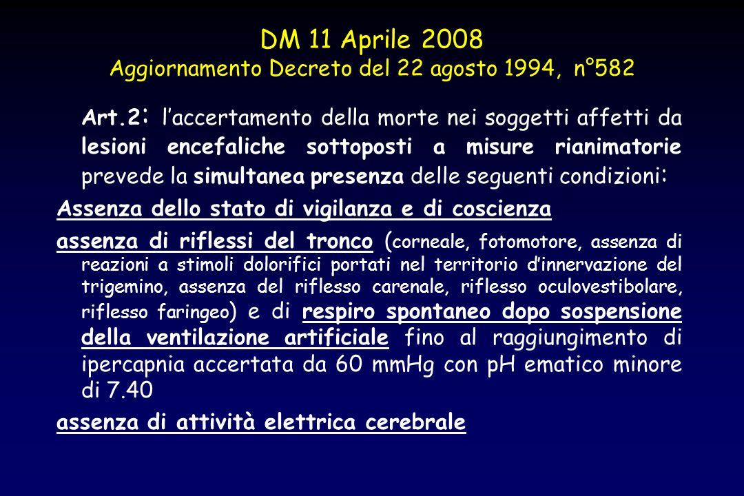 DM 11 Aprile 2008 Aggiornamento Decreto del 22 agosto 1994, n°582 Art.2 : laccertamento della morte nei soggetti affetti da lesioni encefaliche sottop