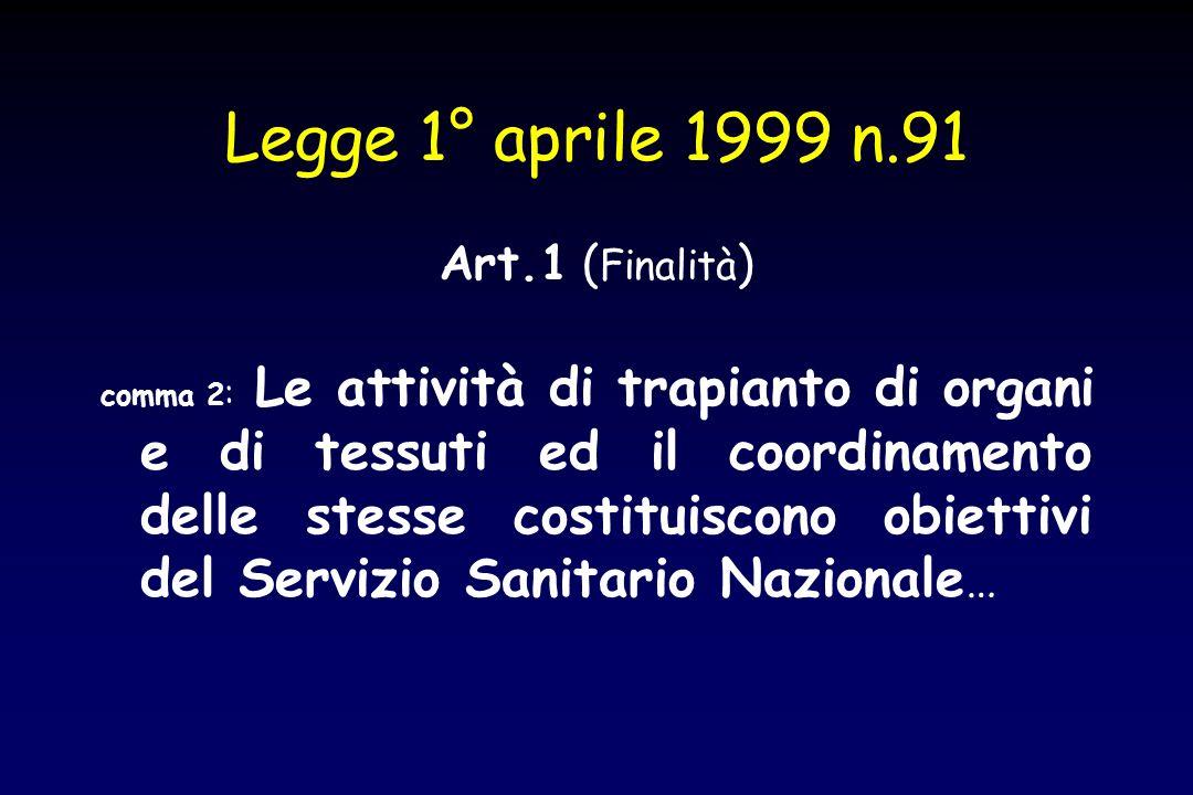 Legge 1° aprile 1999 n.91 Art.1 ( Finalità ) comma 2 : Le attività di trapianto di organi e di tessuti ed il coordinamento delle stesse costituiscono