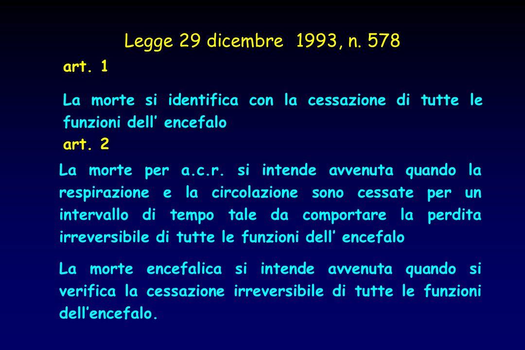 Legge 29 dicembre 1993, n. 578 La morte si identifica con la cessazione di tutte le funzioni dell encefalo art. 1 La morte per a.c.r. si intende avven