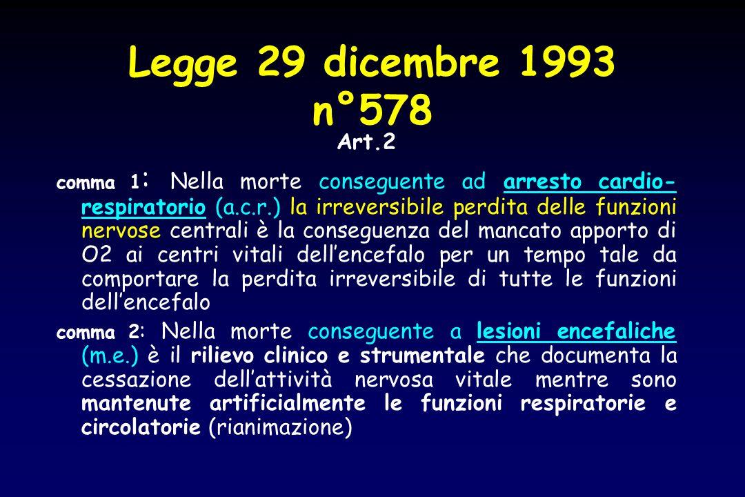 Legge 29 dicembre 1993 n°578 Art.2 comma 1 : Nella morte conseguente ad arresto cardio- respiratorio (a.c.r.) la irreversibile perdita delle funzioni