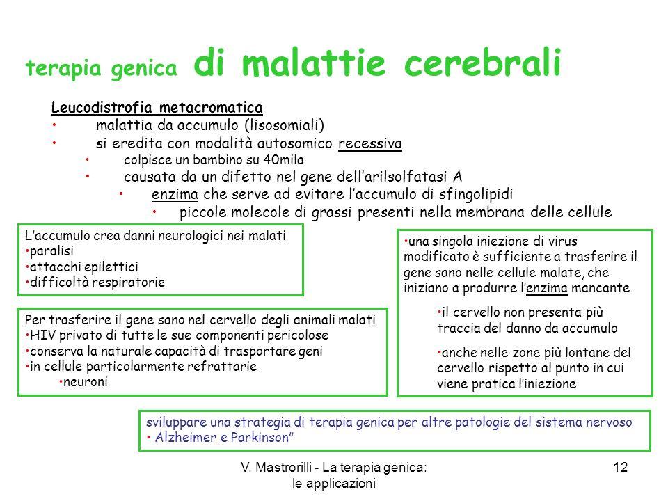 V. Mastrorilli - La terapia genica: le applicazioni 12 Leucodistrofia metacromatica malattia da accumulo (lisosomiali) si eredita con modalità autosom