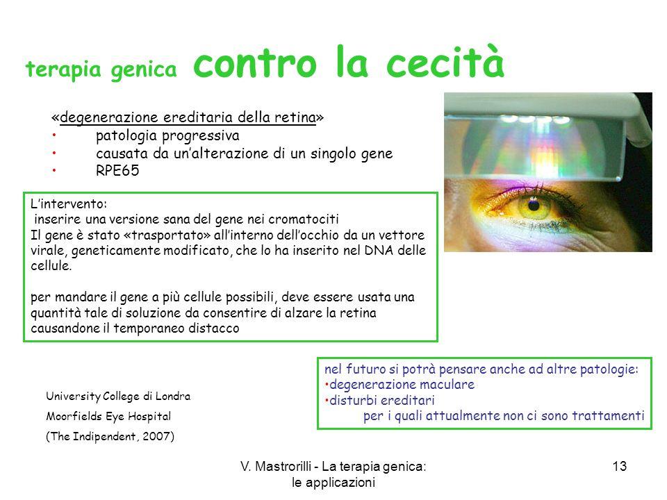 V. Mastrorilli - La terapia genica: le applicazioni 13 «degenerazione ereditaria della retina» patologia progressiva causata da unalterazione di un si
