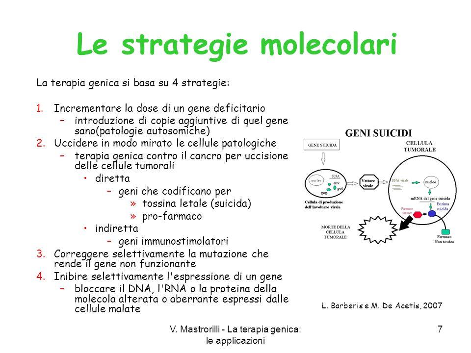 V. Mastrorilli - La terapia genica: le applicazioni 7 La terapia genica si basa su 4 strategie: 1.Incrementare la dose di un gene deficitario –introdu