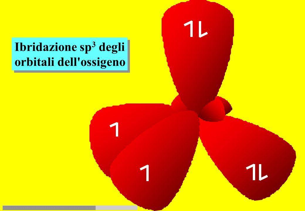 O simbolo: Z = 8 elemento: ossigeno L'orbitale s ed i tre orbitali p si ibridizzano formando quattro orbitali sp 3 n 1212 3 4 5 0123 l