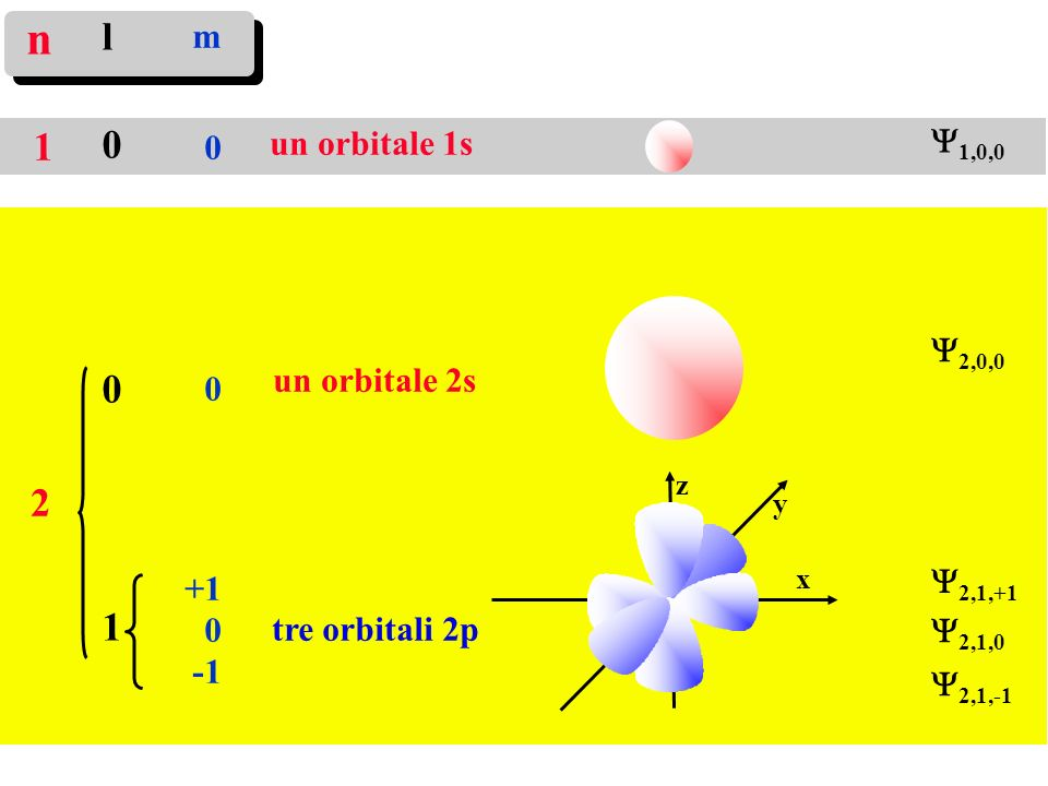 un orbitale 1s l001l001 m 0 +1 0 un orbitale 2s tre orbitali 2p n 1 2 x y z 1,0,0 2,0,0 2,1,+1 2,1,0 2,1,-1