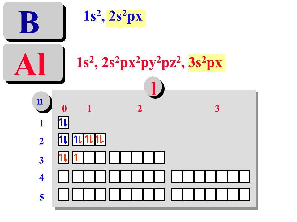 1s 2, 2s 2 px 2 py 2 pz 2, 3s 2 px Al 1s 2, 2s 2 px B n 1212 3 4 5 0123 l