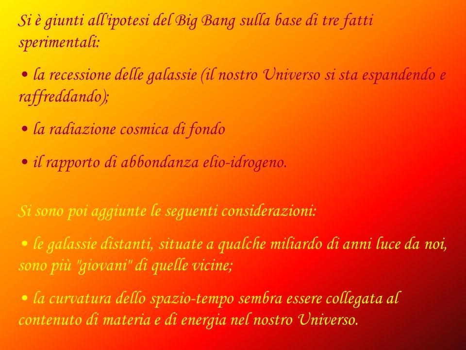 Si è giunti all'ipotesi del Big Bang sulla base di tre fatti sperimentali: la recessione delle galassie (il nostro Universo si sta espandendo e raffre
