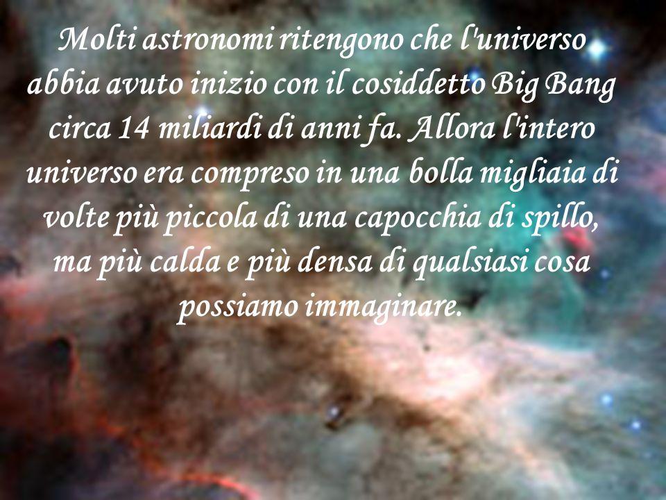 Molti astronomi ritengono che l'universo abbia avuto inizio con il cosiddetto Big Bang circa 14 miliardi di anni fa. Allora l'intero universo era comp