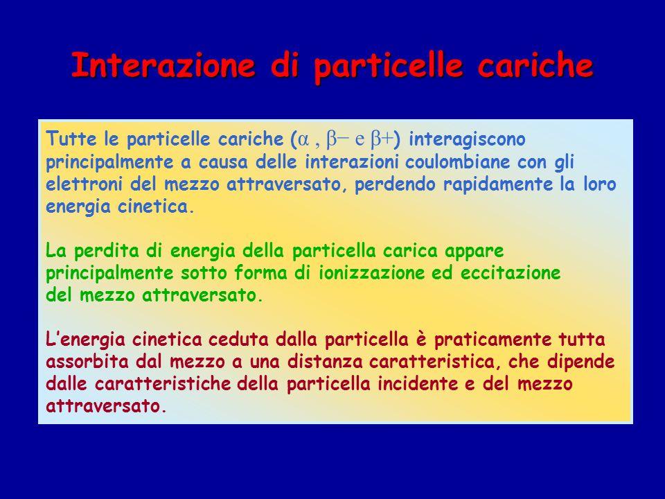 Interazione di particelle cariche Tutte le particelle cariche ( α, β e β+ ) interagiscono principalmente a causa delle interazioni coulombiane con gli elettroni del mezzo attraversato, perdendo rapidamente la loro energia cinetica.