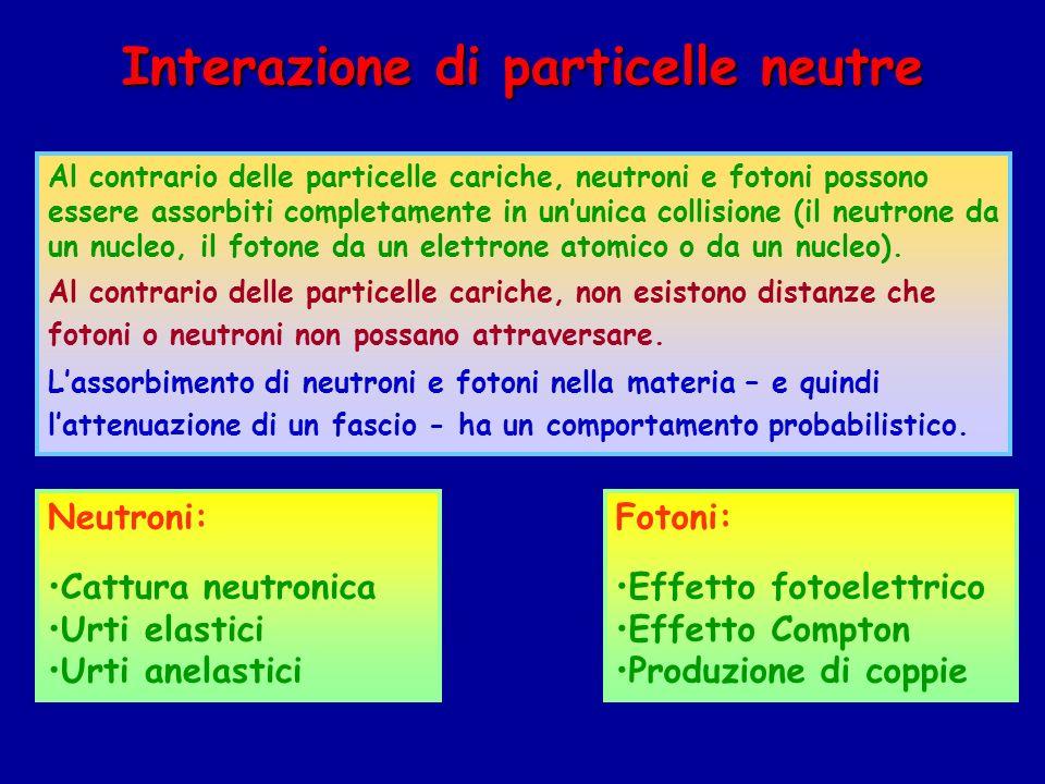 Interazione di particelle neutre Al contrario delle particelle cariche, neutroni e fotoni possono essere assorbiti completamente in ununica collisione (il neutrone da un nucleo, il fotone da un elettrone atomico o da un nucleo).