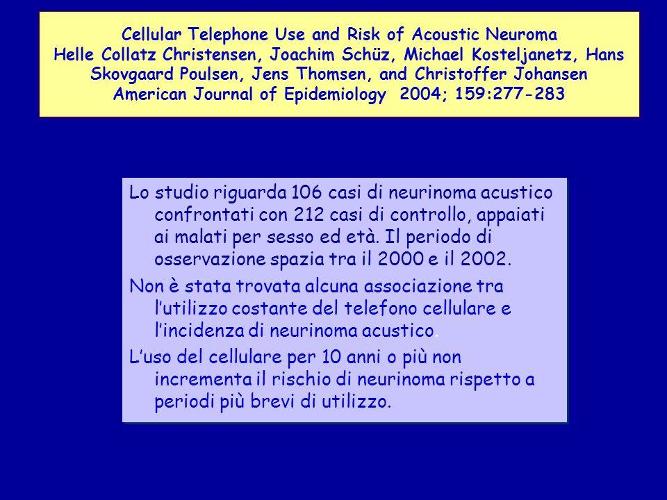 Lo studio riguarda 106 casi di neurinoma acustico confrontati con 212 casi di controllo, appaiati ai malati per sesso ed età.