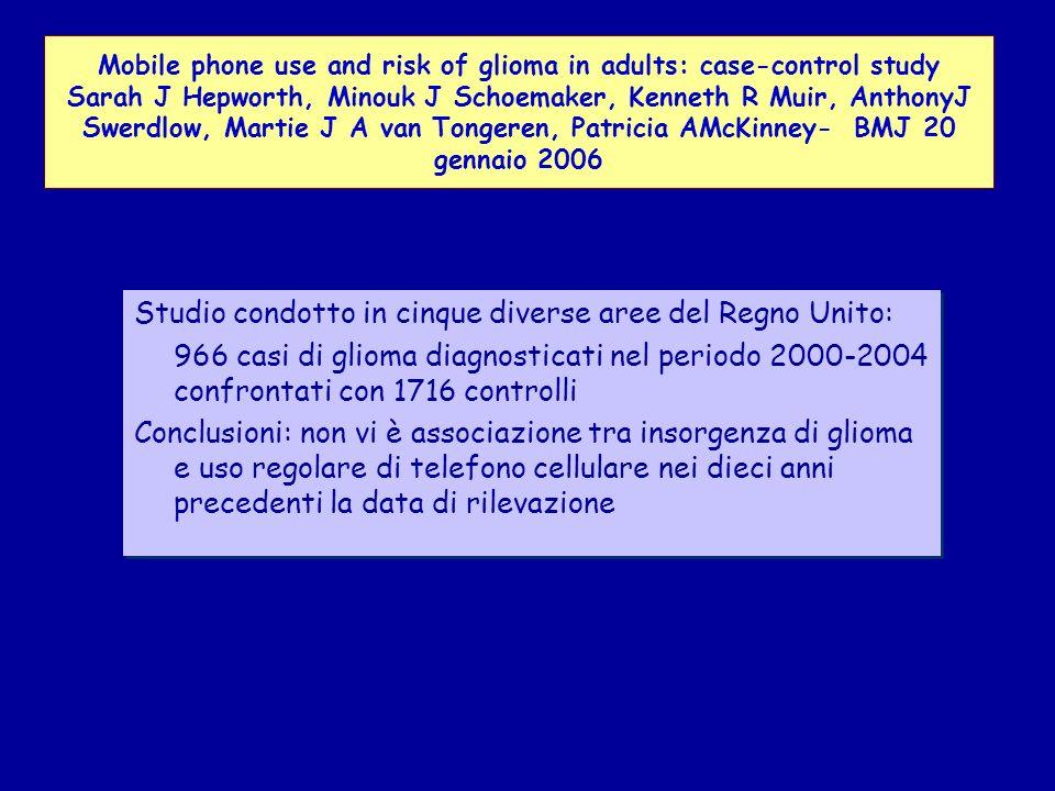 Studio condotto in cinque diverse aree del Regno Unito: 966 casi di glioma diagnosticati nel periodo 2000-2004 confrontati con 1716 controlli Conclusioni: non vi è associazione tra insorgenza di glioma e uso regolare di telefono cellulare nei dieci anni precedenti la data di rilevazione Studio condotto in cinque diverse aree del Regno Unito: 966 casi di glioma diagnosticati nel periodo 2000-2004 confrontati con 1716 controlli Conclusioni: non vi è associazione tra insorgenza di glioma e uso regolare di telefono cellulare nei dieci anni precedenti la data di rilevazione Mobile phone use and risk of glioma in adults: case-control study Sarah J Hepworth, Minouk J Schoemaker, Kenneth R Muir, AnthonyJ Swerdlow, Martie J A van Tongeren, Patricia AMcKinney- BMJ 20 gennaio 2006